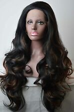 High Quality Long Wavy Mixed Brown Heat Resistant Synthetic Hair Lace Front Wigs