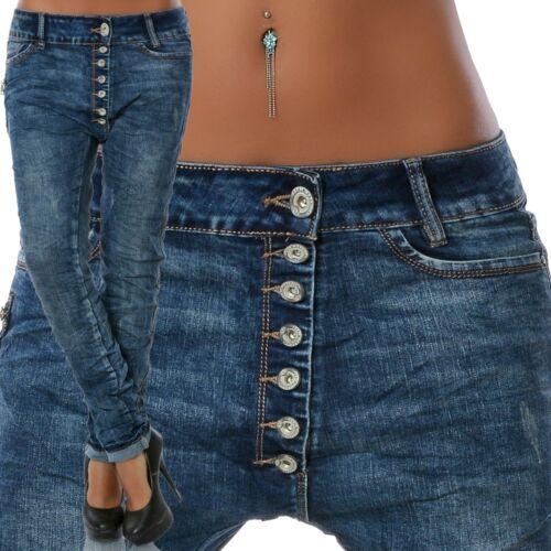 Damen Jeans Hose Boyfriend Hüftjeans Chino Pump Pluder Baggy Haremshose Stretch