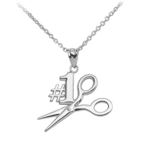 Fine .925 Sterling Silver #1 Hairstylist Scissor Pendant Necklace