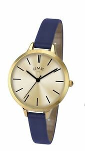 Limit-Ladies-Modern-Gold-Tone-Watch-Thin-Blue-Strap-6223