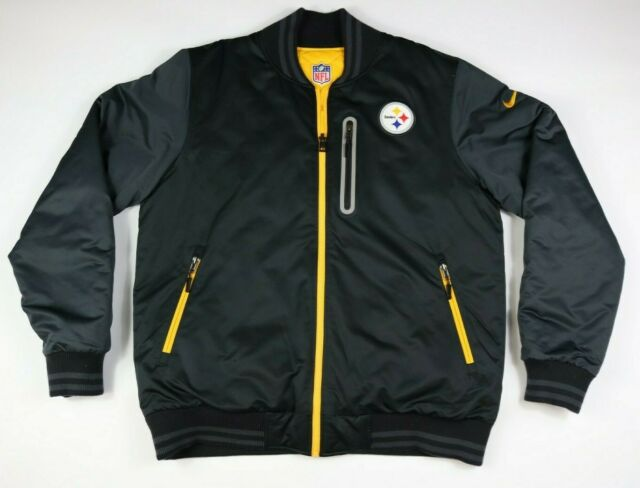huge selection of 732ca 2d4a5 Pittsburgh Steelers Bomber Jacket NFL Reversible Nike On Field Apparel Mens  L