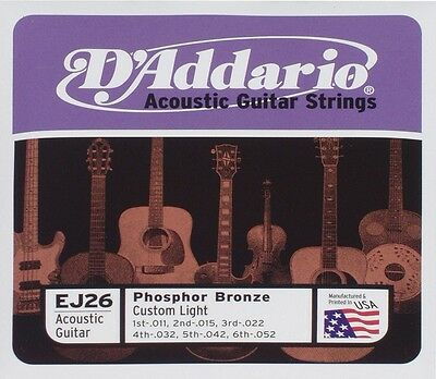 5 Pack! D'Addario EJ26 11-52 Phosphor Bronze Acoustic Guitar Strings | eBay
