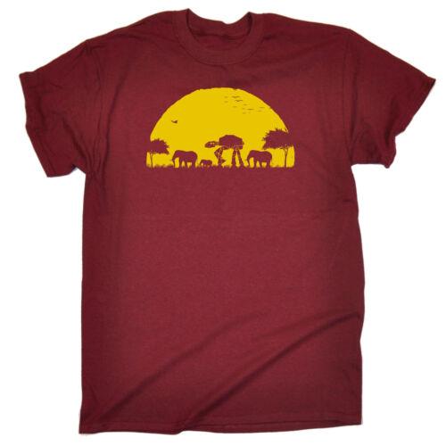Elefante ATAT SUNSET T-Shirt Geek UMORISMO Sci Fi Safari NERD regalo di compleanno divertente