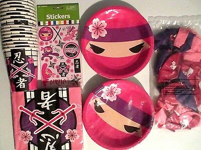 PINK NINJA PARTY - Birthday Party Supply Set Pack Kit w/ Stickers & 25 Balloons