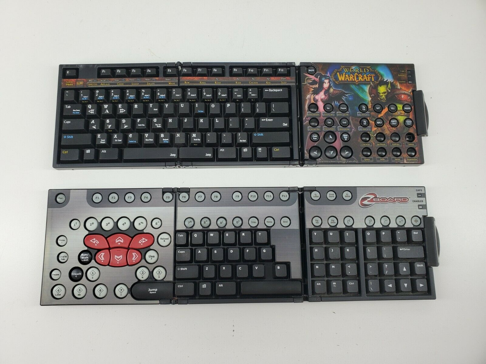 Lot of 2 ZBOARD WORLD OF WARCRAFT OVERLAY KEYBOARD WOW and Generic ZBoard