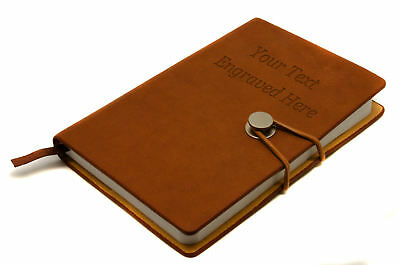 Personalised  Brown Faux Leather Plain Notebook Pad, Travel Journal Engraved