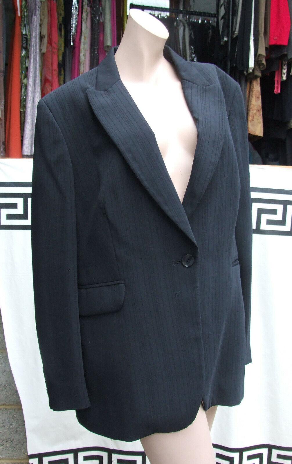 70ae31f14561 M S 18-20 elegante Taglia più PC tuta pantaloni e blazer nero gessato 2 Uk  nrmdcy7518-Tailleur e abiti sartoriali
