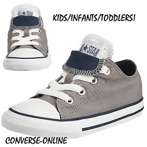45389550dee BABY Boy Girl Kids CONVERSE All Star GREY DOUBLE TONGUE OX Trainers ...