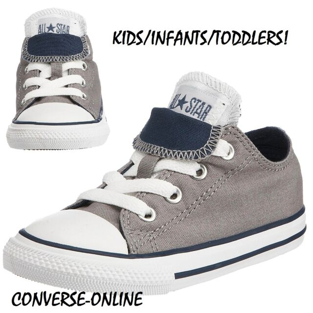 4a39b7de18bc Baby Boy Girl Kids Converse All Star Grey Double Tongue Ox Trainers 19 UK  Size 3 for sale online
