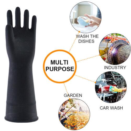 60cm Black Protective Industry Gloves Anti Chemical Acid Alkali Rubber Gloves