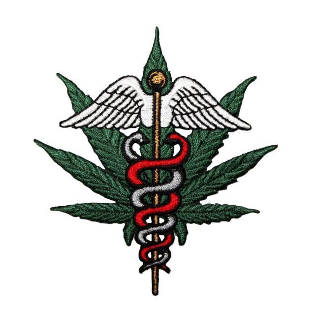 Medicinal Marijuana Serpent Patch Symbol Pot Leaf Medical Weed Iron