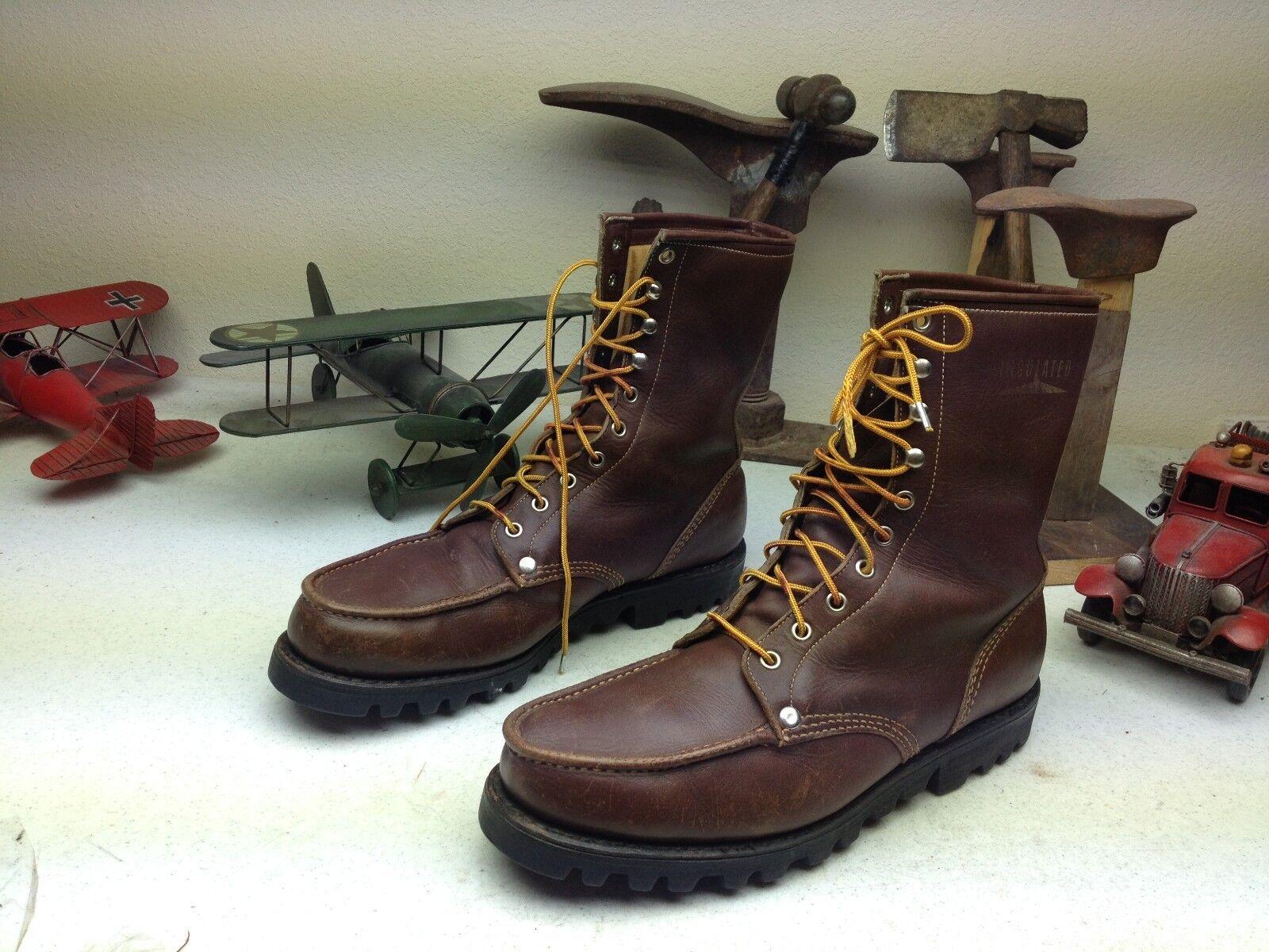 Vintage Marrón Envejecido lazada Ingeniero Packer Trail Boss botas D