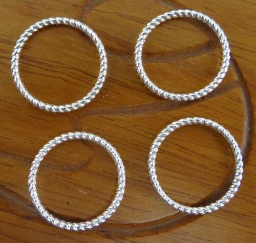 Lot de 10 anneaux fermés striés 18 mm couleur argentée-fdpg041