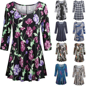 Fashion-Womens-Regular-Floral-Print-Shirts-3-4-Sleeves-O-Neck-Tunic-Blouse-Tops