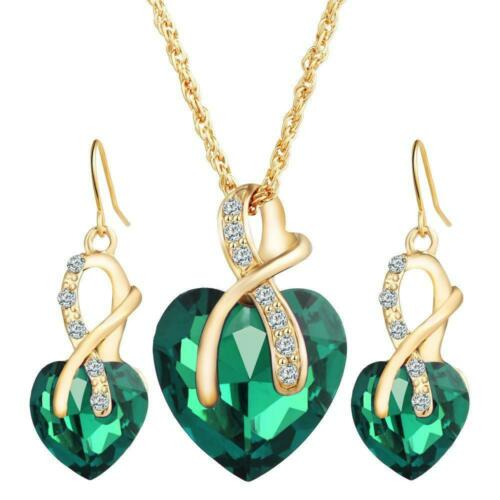 Necklace and Earrings Beautiful Quality Green Heart Shaped Jewellery Set