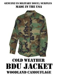 c298bd3d00596 USGI US MILITARY WOODLAND CAMO BDU TOP COAT JACKET COLD WEATHER ...