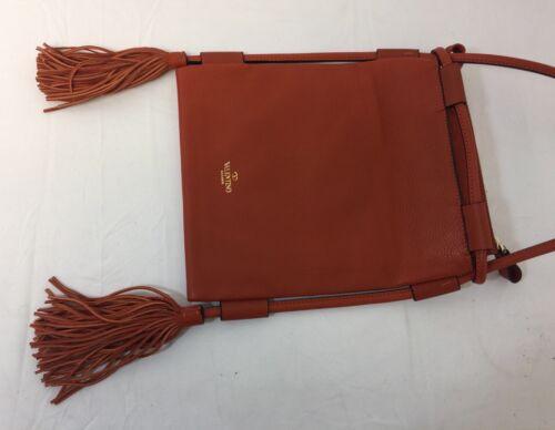 Crossbody leer oranje 1495 tas kiezel 00 Gloednieuw touw franje Valentino xtY4qTnH1