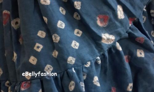 Cotton Tribal 25 Yard 4 Tier Gypsy Skirt Belly Dance Jupe Tie/&Dye Polka Dot NEW