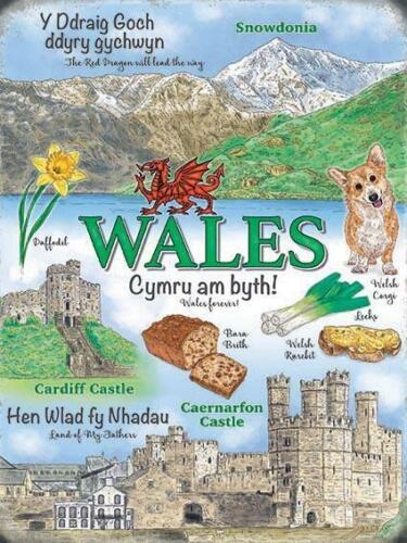 Wales Landmarks Snowdonia Cardiff Caernarfon Castle Large Metal//Steel Wall Sign