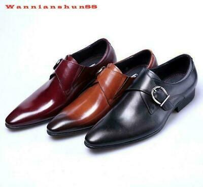 Mens British Pointed Toe Buckle Strap Formal Dress Low Top Leather Shoes British
