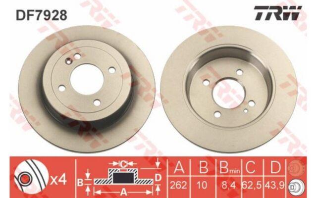 1x TRW Disco de Freno Trasero Pleno 262mm DF7928