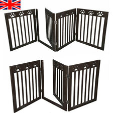 3 Three Panel Dog Gate Folding White Wood Pet Barrier With Door 82-124 × 61 cm
