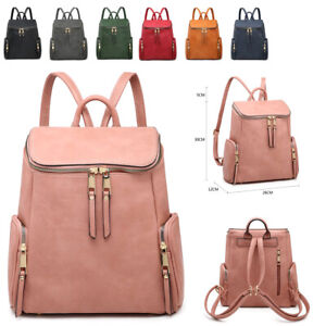 Ladies-Girls-Zips-Backpack-Faux-Leather-Rucksack-Shoulder-Bag-Handbag-MA36558
