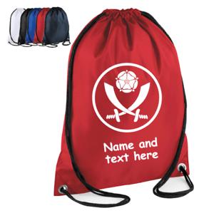 Personalised Drawstring Bag FOOTBALL Sheffield Utd Kids GIFT PE Kit Game School