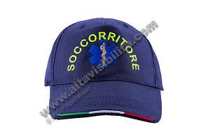 CAPPELLO-CAP-BERRETTO-CAPPELLINO-SOCCORRITORE-SOCCORSO-RICAMO-INSERTI-TRICOLORE