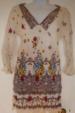 New_Boho Peasant Empire waist V-neck Crushed Cotton Tunic Top_Free Size