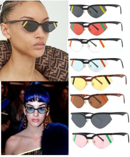 Fashion Cat Eye Small Sunglasses Women Half Frame Strip Sun Glasses Luxury Brand