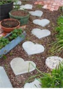 Heart Shaped Stepping Stones Decorative Landscaping Garden Decor Ebay