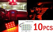 10x T10 & Festoon Universal 12 SMD Plasma Red LED Panel Interior Dome Map Light
