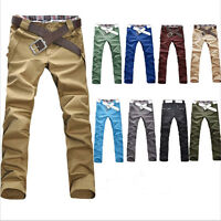 NEW Fashionable Men's Stylish Designed Straight Slim Trousers Casual Long Pants