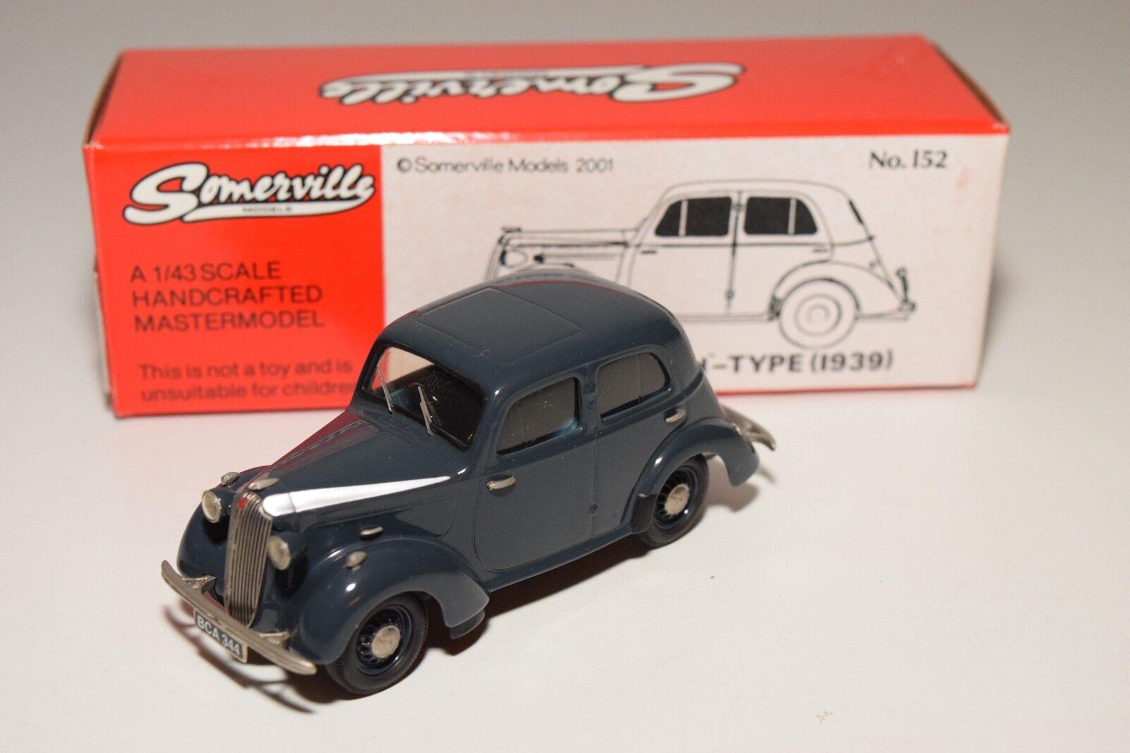 SOMERVILLE MODELS 152 VAUXHALL 10 H-TYPE VELOX 1939 gris-bleu MINT BOXED