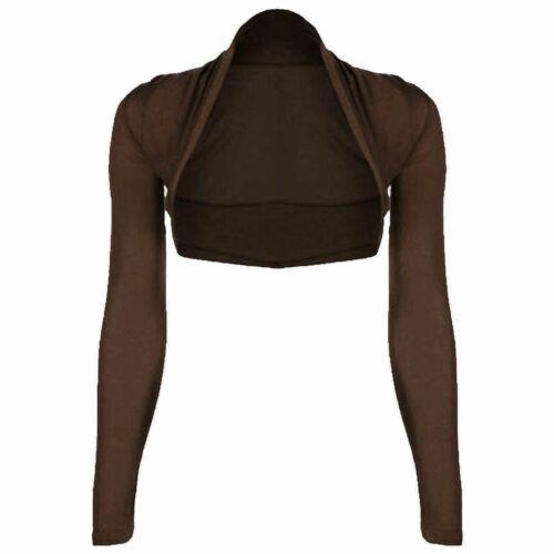 Ladies Girls Plus Size Plain Bolero Shrug Cropped Cardigan Top Jacket UK 8-26