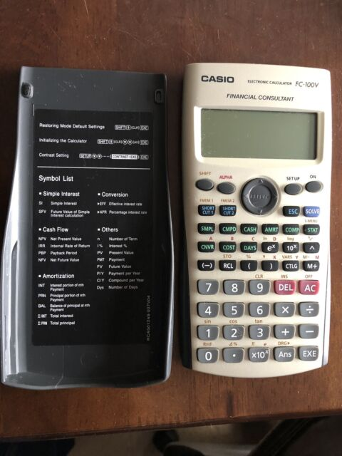 CASIO FC-100V Financial Calculator, Silver, FC100V Excellent Condition with case
