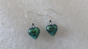 Gorgeous-034-La-Crima-034-Emerald-Heart-Venetian-Glass-Earrings