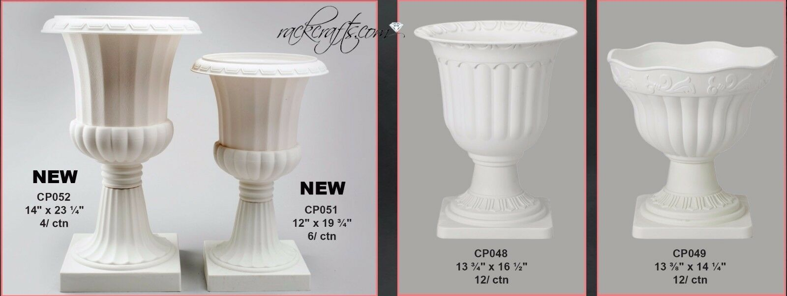 Large Rubber Plastic Roman Greek Planters Pots Urns Vases Plants Wedding Garden