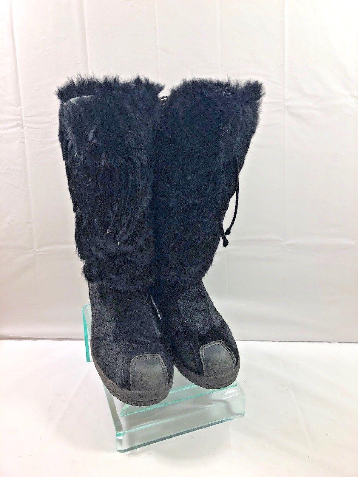 Pajar negro piel de zorro y pelo de becerro Nieve Invierno botas De Esquí