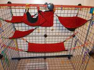 RED WITH BLACK DOTS Sugar Glider 6 pc cage set