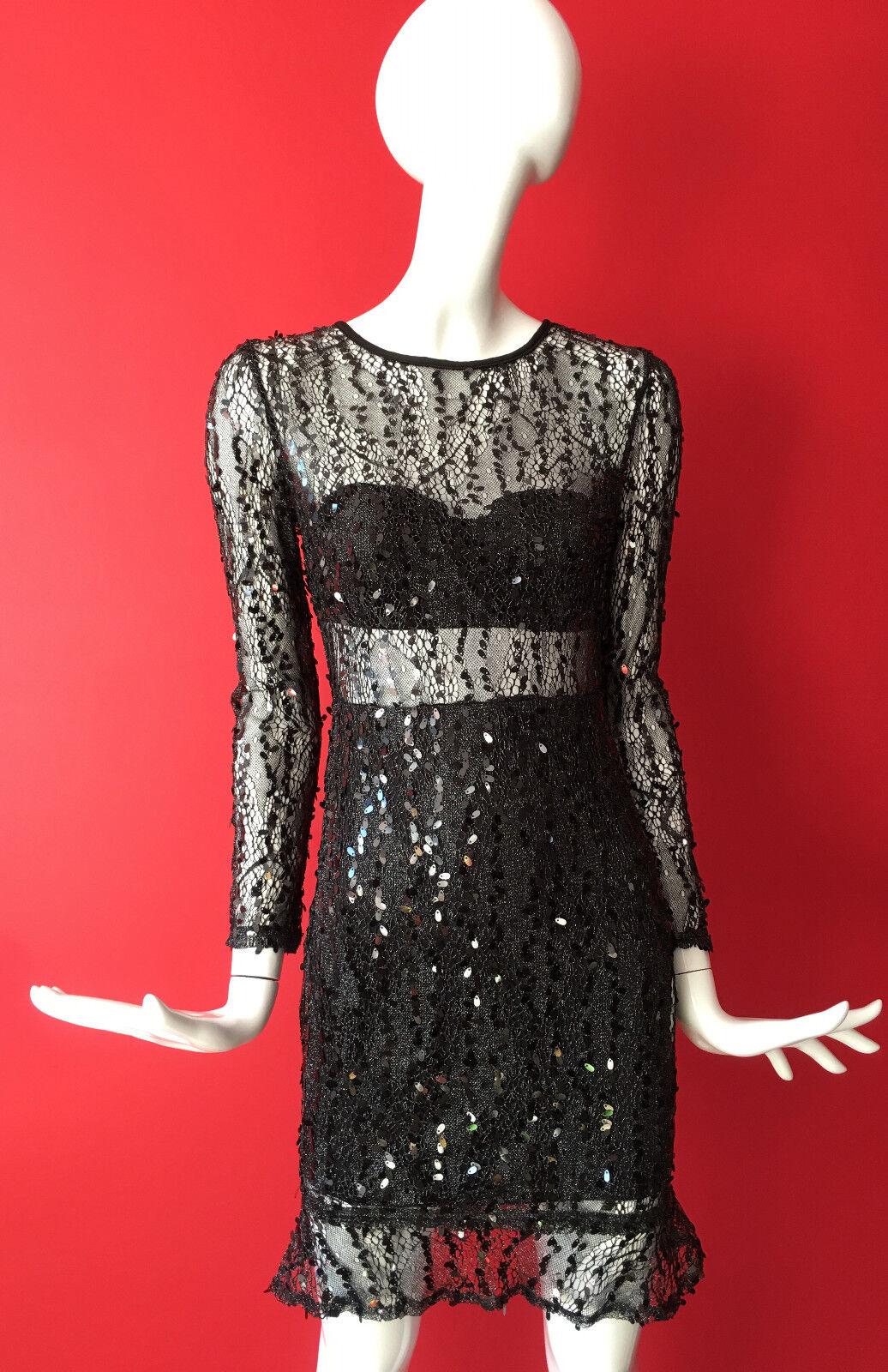 NaaNaa Long Sleeve Party Mesh Sequin Dress Size 8 BNWT