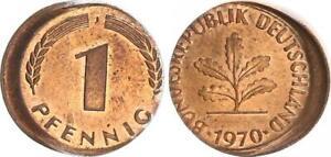 Frg 1 Pfennig 1970 J Lack Coinage: 15% Dezentriert, Kupferpatina Prfr St