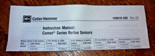 NOS Cutler Hammer Comet Photoelectric Reflex Sensor w Extension Cable 14102A6513