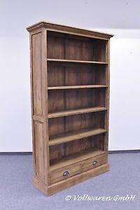 TEAK-KONTOR-BUCHERREGAL-SE36-2-Teakholz-antik-Bibliothek-Regal-Buecherschrank