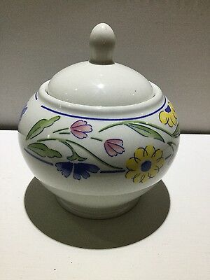 Staffordshire Diplomatic Summer Meadow Sugar Bowl With Lid Pottery & Glass