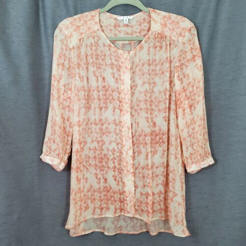 Sheer Oversized Coral Peach Button-Front Blouse Cr