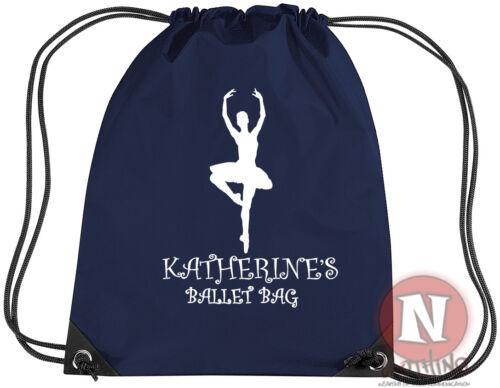 PINK PERSONALISED BALLET SHOES DRAWSTRING BAG ballerina