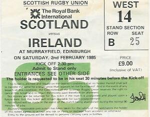 SCOTLAND-v-IRELAND-1985-RUGBY-TICKET-2nd-Feb-TRIPLE-CROWN-SEASON-FOR-IRELAND