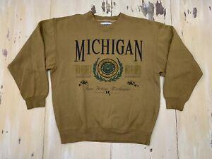 MICHIGAN WOLVERINES: Vtg 90s Brown Yellow NCAA University Sweatshirt, Mens LARGE